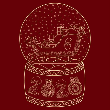 Toy glass snow globe with Santa sleigh. Lettering number 2020. Coloring book page for adults and children. Winter decorative pattern - star, Santa, gift, snowflake, bow, ball, stocking.