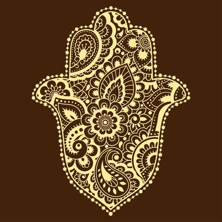 Hamsa hand drawn symbol with flower. Decorative pattern in oriental style for interior decoration and henna drawings. The ancient sign of Hand of Fatima.