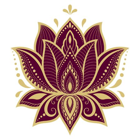 Colorful floral pattern for Mehndi and Henna drawing. Hand-draw lotus symbol. Decoration in ethnic oriental, Indian style. Red design on white background.  イラスト・ベクター素材