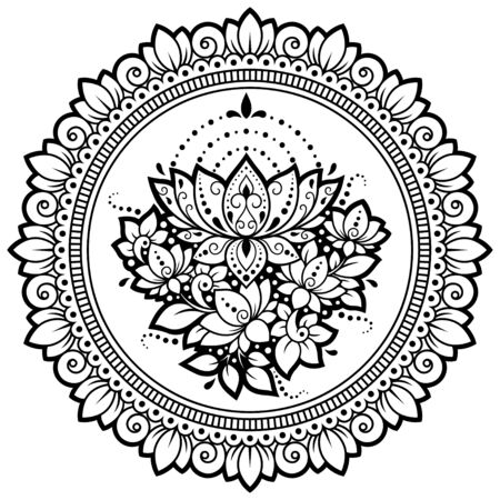 Circular pattern in form of mandala with lotus flower for Henna, Mehndi, tattoo, decoration. Decorative ornament in ethnic oriental style. Outline doodle hand draw vector illustration.