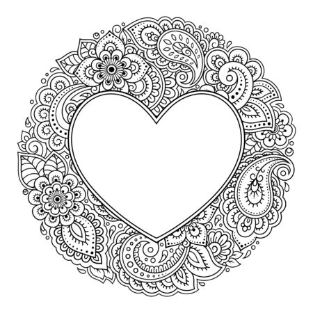 Round decorative frame with floral pattern in forn of heart in mehndi style. Antistress coloring book page. Doodle ornament in black and white. Outline hand draw vector illustration.  イラスト・ベクター素材