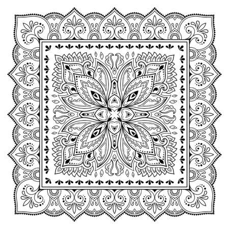 Motivo quadrato a forma di mandala con fiore per henné, mehndi, tatuaggio, decorazione. Ornamento decorativo in stile etnico orientale. Illustrazione di vettore di tiraggio della mano di doodle di contorno.