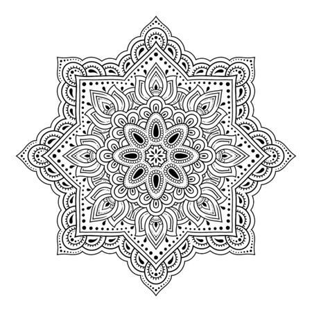 Circular pattern in form of mandala for Henna, Mehndi, tattoo, decoration. Decorative ornament in ethnic oriental style. Outline doodle hand draw vector illustration.