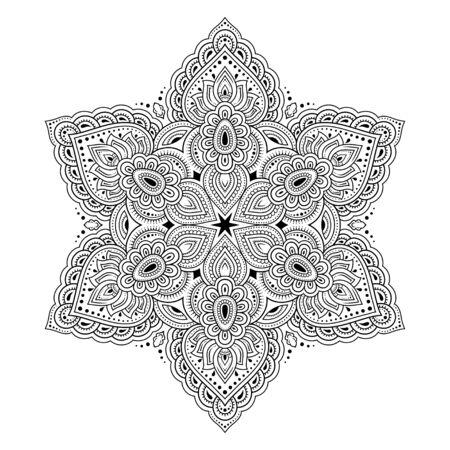 Motif circulaire en forme de mandala pour Henna, Mehndi, tatouage, décoration. Ornement décoratif de style oriental ethnique. Contour doodle illustration vectorielle de tirage à la main.