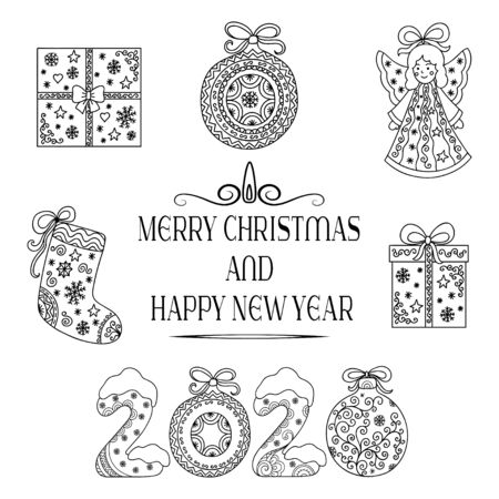 Decorative festive lettering - text greetings Merry Christmas and Happy New Year, doodle number 2020. Decoration with gifts, socks, angel and ball for holiday postcards, covers.