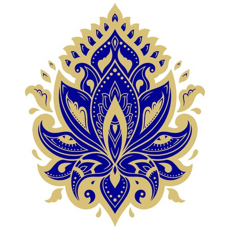 Colorful floral pattern for Mehndi and Henna drawing. Hand-draw lotus symbol. Decoration in ethnic oriental, Indian style. Blue design on white background.