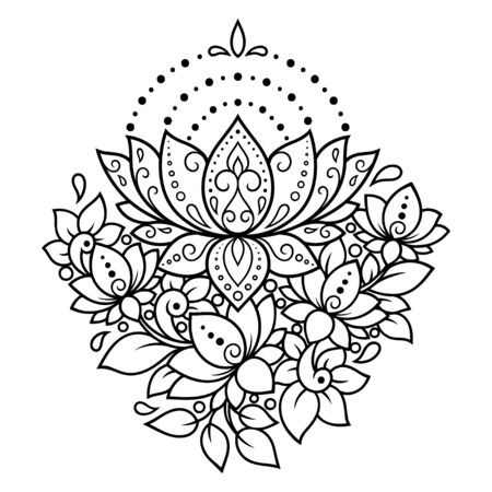 Lotus mehndi flower pattern for Henna drawing and tattoo. Decoration in oriental, Indian style. Doodle ornament. Outline hand draw vector illustration.