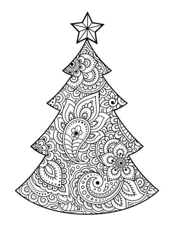 High detailed floral pattern is made in mehndi style in the form of a Christmas tree. Flower decoration in ethnic Oriental, Indian style. Coloring book page.