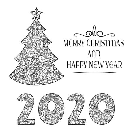Decorative festive lettering - text greetings Merry Christmas and Happy New Year, 2020. Holiday decoration in form of tree with star in mehndi style.  イラスト・ベクター素材