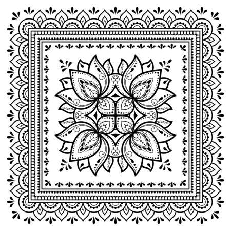 Motivo quadrato a forma di mandala con fiore di loto per henné, mehndi, tatuaggio, decorazione. Ornamento decorativo in stile etnico orientale. Illustrazione di vettore di tiraggio della mano di doodle di contorno. Vettoriali