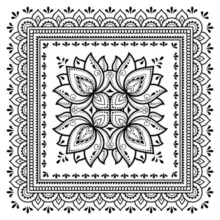 Square pattern in form of mandala with Lotus flower for Henna, Mehndi, tattoo, decoration. Decorative ornament in ethnic oriental style. Outline doodle hand draw vector illustration. Фото со стока - 129992487