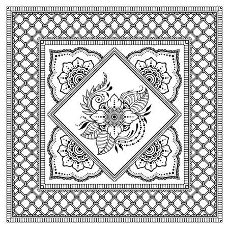 Motif carré en forme de mandala avec fleur pour henné, Mehndi, tatouage, décoration. Ornement décoratif de style oriental ethnique. Contour doodle illustration vectorielle de tirage à la main.