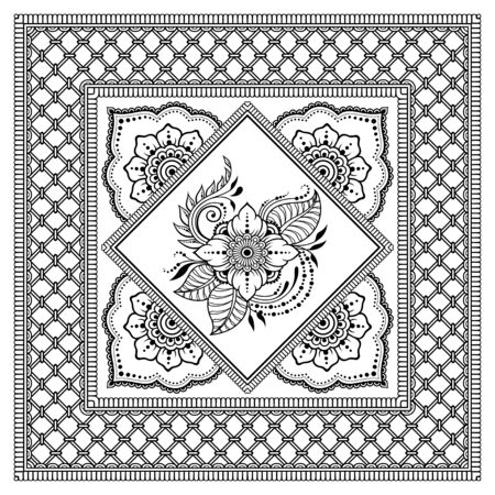 Square pattern in form of mandala with flower for Henna, Mehndi, tattoo, decoration. Decorative ornament in ethnic oriental style. Outline doodle hand draw vector illustration.