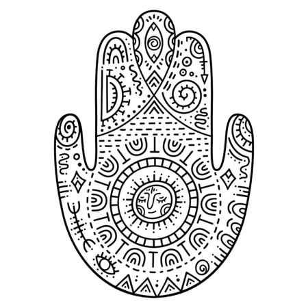 Hamsa hand drawing. The ancient Eastern symbol of protection from evil. Decorative pattern in oriental style for interior decoration and tatto. The sign of Hand of Fatima.