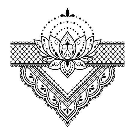 Lotus mehndi flower pattern for Henna drawing and tattoo. Decoration in oriental, Indian style. Doodle ornament. Outline hand draw vector illustration.  イラスト・ベクター素材