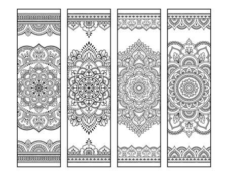 Marque-page imprimable pour livre - coloriage. Ensemble d'étiquettes en noir et blanc avec des motifs de mandala, dessin à la main dans le style mehndi. Croquis d'ornements pour la créativité des enfants et des adultes avec des crayons de couleur. Vecteurs