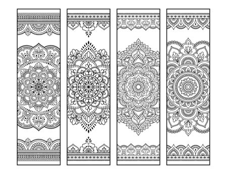 Printable bookmark for book - coloring. Set of black and white labels with mandala patterns, hand draw in mehndi style. Sketch of ornaments for creativity of children and adults with colored pencils.