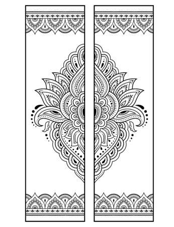 Marque-page imprimable - coloriage. Ensemble d'étiquettes en noir et blanc avec des motifs de fleurs de lotus, dessin à la main dans le style mehndi. Croquis d'ornements pour la créativité des enfants et des adultes avec des crayons de couleur.