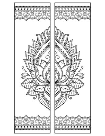 Printable bookmark  - coloring. Set of black and white labels with lotus flower patterns, hand draw in mehndi style. Sketch of ornaments for creativity of children and adults with colored pencils.