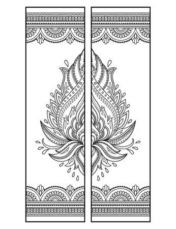 Marque-page imprimable - coloriage. Ensemble d'étiquettes en noir et blanc avec des motifs de fleurs de lotus, dessin à la main dans le style mehndi. Croquis d'ornements pour la créativité des enfants et des adultes avec des crayons de couleur. Vecteurs