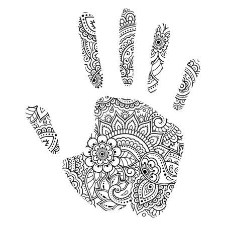 Imprimé palmier fait de fleurs dans le style mehndi. Main avec motif oriental. Page de livre de coloriage. Décrire l'illustration vectorielle à la main. Vecteurs