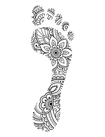 Foot print made of flowers in mehndi style. leg with Oriental pattern. Coloring book page. Outline hand-draw vector illustration.  イラスト・ベクター素材