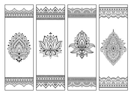 Printable bookmark for book - coloring. Set of black and white labels with flower patterns, hand draw in mehndi style. Sketch of ornaments for creativity of children and adults with colored pencils. Illustration