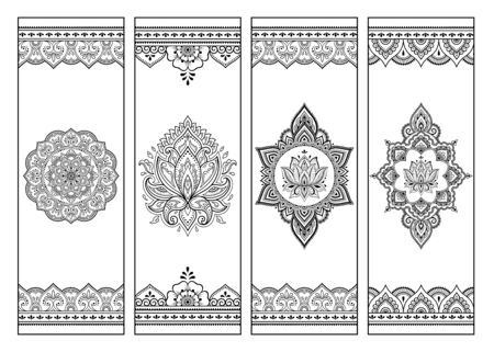 Printable bookmark for book - coloring. Set of black and white labels with flower patterns, hand draw in mehndi style. Sketch of ornaments for creativity of children and adults with colored pencils.  イラスト・ベクター素材