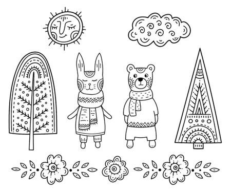 Funny cartoon childrens coloring. Bear and rabbit in the forest among the trees under the smiling sun and clouds. Scandinavian style childrens drawing. Folk art.