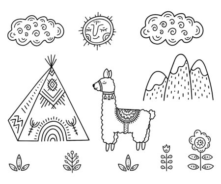 Funny Cartoon childrens coloring. Lama about Indian homes Tipi in the mountains among flowers under smiling sun and cloud. Scandinavian style childrens drawing. Folk art.