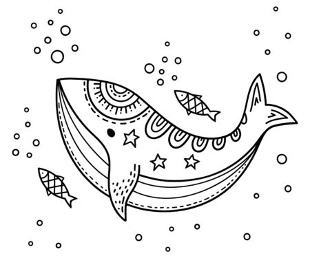 Funny Cartoon childrens coloring. Whale with fish in the sea under the water among the bubbles. Scandinavian style childrens drawing. Folk art.