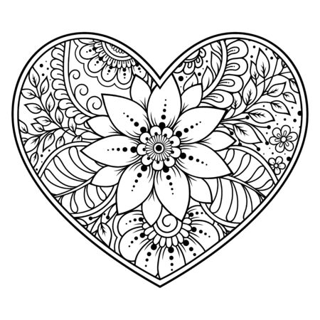 Mehndi flower pattern in form of heart for Henna drawing and tattoo. Decoration in ethnic oriental, Indian style. Valentine's day greetings. Coloring book page. Banque d'images - 131297721
