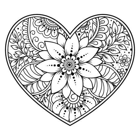 Patrón de flores mehndi en forma de corazón para dibujo y tatuaje de henna. Decoración en estilo étnico oriental, indio. Saludos de San Valentín. Página de libro para colorear. Ilustración de vector