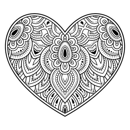 Mehndi flower pattern in form of heart for Henna drawing and tattoo. Decoration in ethnic oriental, Indian style. Valentines day greetings. Coloring book page.