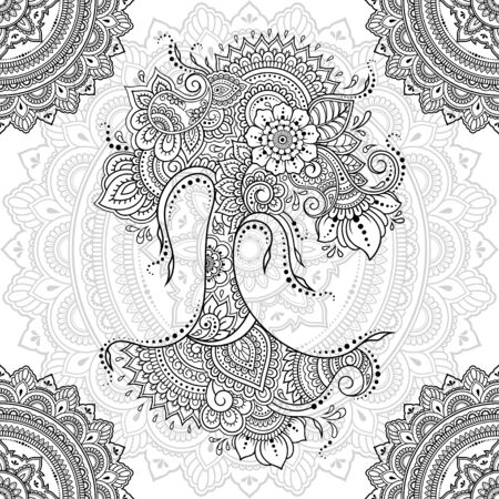 Seamless decorative ornament in ethnic oriental style. Circular pattern in form of mandala and tree with flower for Henna, Mehndi, decoration and coloring. Doodle outline hand draw vector illustration