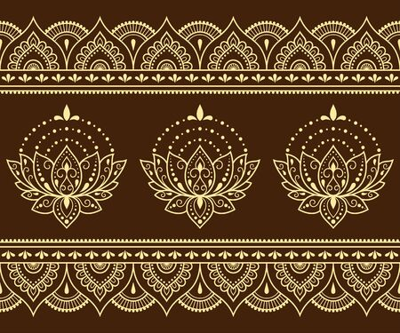 Seamless pattern of mehndi lotus flower and border for Henna drawing and tattoo. Decorative doodle ornament in ethnic oriental, Indian style. Outline hand draw vector illustration.