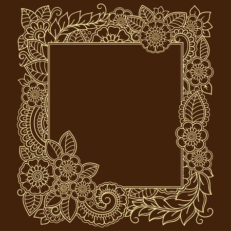 Stylized with henna tattoos decorative pattern for decorating covers for book, notebook, casket, magazine, postcard and folder. Flower in mehndi style. Frame in the eastern tradition. Banque d'images - 131297731