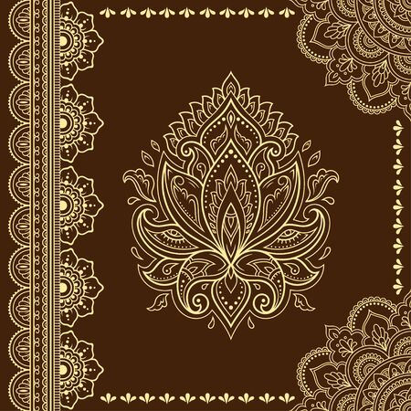 Stylized with henna tattoo decorative pattern for decorating covers book, notebook, casket, postcard and folder. Mandala, Lotus flower and border in mehndi style. Frame in the eastern tradition.  イラスト・ベクター素材
