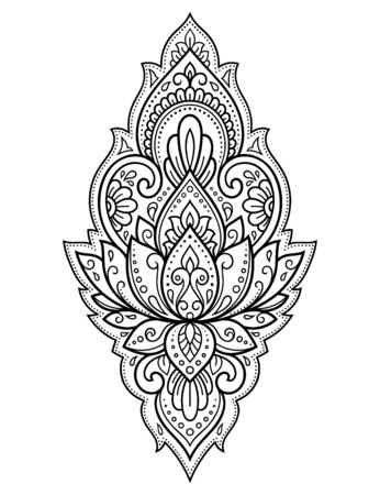 Lotus mehndi flower pattern for Henna drawing and tattoo. Decoration in oriental, Indian style. Doodle ornament. Outline hand draw vector illustration. Reklamní fotografie - 132698674