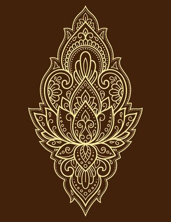 Lotus mehndi flower pattern for Henna drawing and tattoo. Decoration in oriental, Indian style. Doodle ornament. Outline hand draw vector illustration. Ilustrace