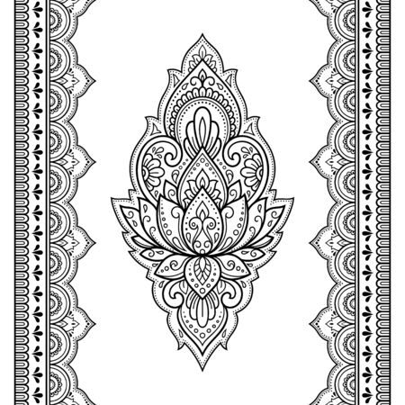 Seamless pattern of mehndi lotus flower and border for Henna drawing and tattoo. Decorative doodle ornament in ethnic oriental, Indian style. Outline hand draw vector illustration. Reklamní fotografie - 133048915