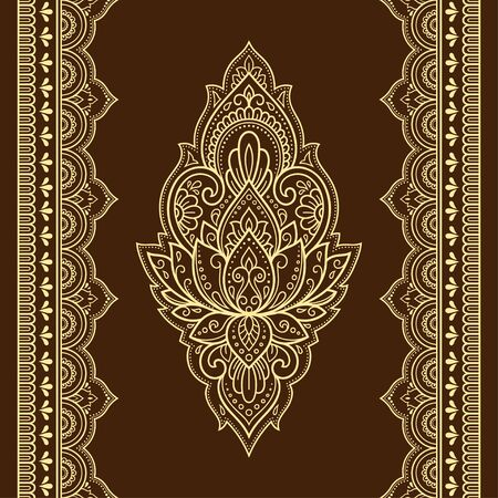 Seamless pattern of mehndi lotus flower and border for Henna drawing and tattoo. Decorative doodle ornament in ethnic oriental, Indian style. Outline hand draw vector illustration. Reklamní fotografie - 133048917