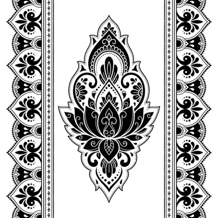 Seamless pattern of mehndi lotus flower and border for Henna drawing and tattoo. Decorative doodle ornament in ethnic oriental, Indian style. Outline hand draw vector illustration. Reklamní fotografie - 133048919