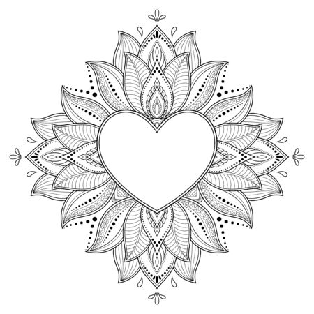 Circular pattern in form of mandala with frame in shape of heart. Decorative ornament in ethnic oriental mehndi style. Outline doodle hand draw vector illustration. Antistress coloring book page. Standard-Bild - 133518027