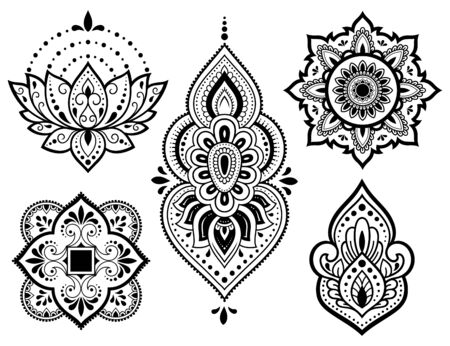 Big set of Mehndi flower pattern, lotus and mandala for Henna drawing and tattoo. Decoration in ethnic oriental, Indian style.