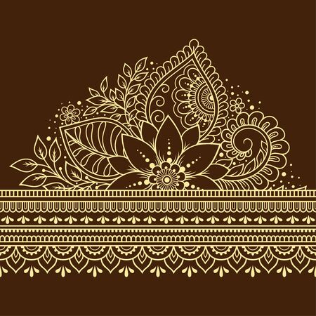 Seamless borders pattern with Mehndi flower for Henna drawing and tattoo. Decoration in ethnic oriental, Indian style. Doodle ornament. Outline hand draw vector illustration.