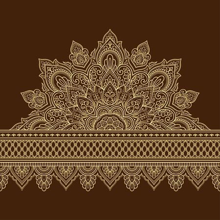 Seamless borders with mandala for design, application of henna, Mehndi and tattoo. Decorative pattern in ethnic oriental, Indian style. Doodle ornament. Outline hand draw vector illustration.