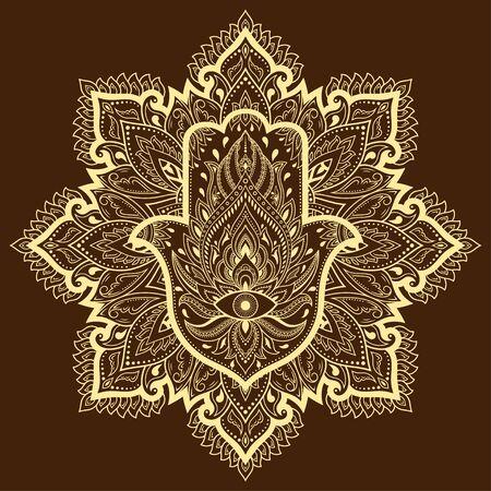 Circular pattern in form of mandala for Henna, Mehndi, tattoo, decoration. Decorative ornament in oriental style with Hamsa hand drawn symbol. Ilustrace