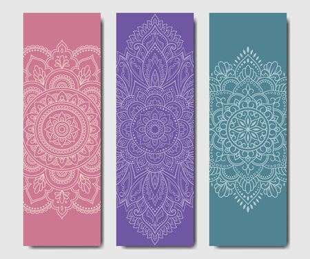 Set of design yoga mats. Floral and mandala pattern in oriental style for decoration sport equipment. Colorful ethnic Indian ornaments for spiritual serenity. Decor of business card, poster, print. Ilustrace