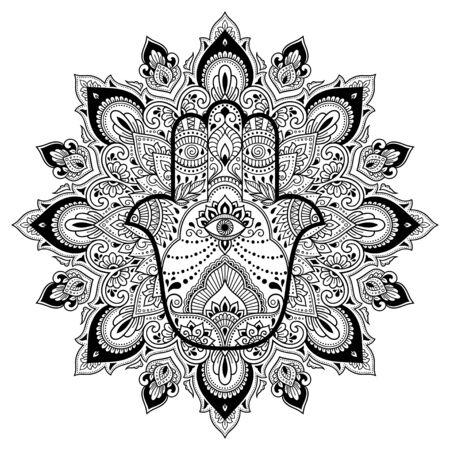 Kreismuster in Form eines Mandalas für Henna, Mehndi, Tätowierung, Dekoration. Dekorative Verzierung im orientalischen Stil mit Hamsa-Hand gezeichnetem Symbol. Malbuchseite.